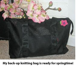 Knitting bag with pin