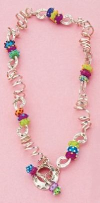 lampwork glass bead and wire necklace by Cassie Donlen