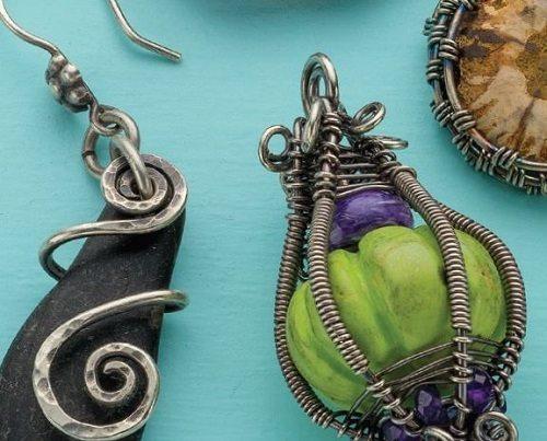 Suspension Spirals and Enchanted Lantern wire bezel designs by Janice Berkebile