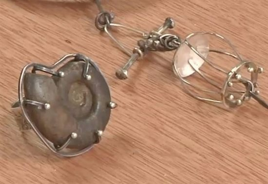 wire cage pendant and big wire prong ring by Susan Lenart Kazmer