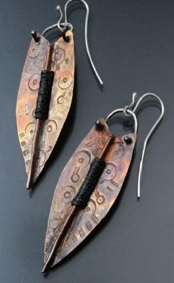 Copper Fold Formed Shield earrings by Susan Dilger