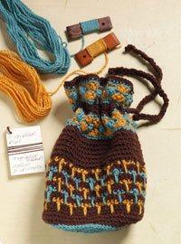 Handspun yarn crochet bag