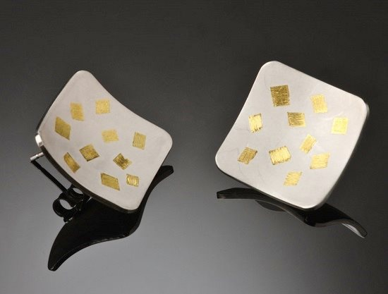 Keum boo jewelry designs: Square keum boo earrings by Tim Silver Designs