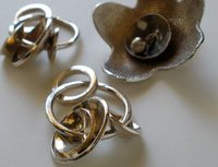 silver metal clay flowers and components