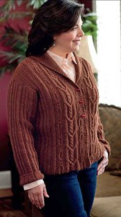 The Waltham Cabled Cardigan from Knitting Plus
