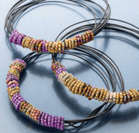 Bead weaving with wire interweave for Step by step wire jewelry subscription