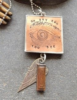 Create etched stamped pendants in clay soldered bezels interweave oh say can you see by donna musarra aloadofball Images