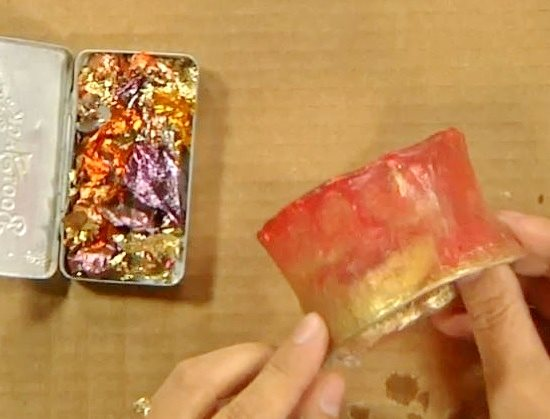 using foil and iridescent powders in cast resin bangles by Cynthia Thornton