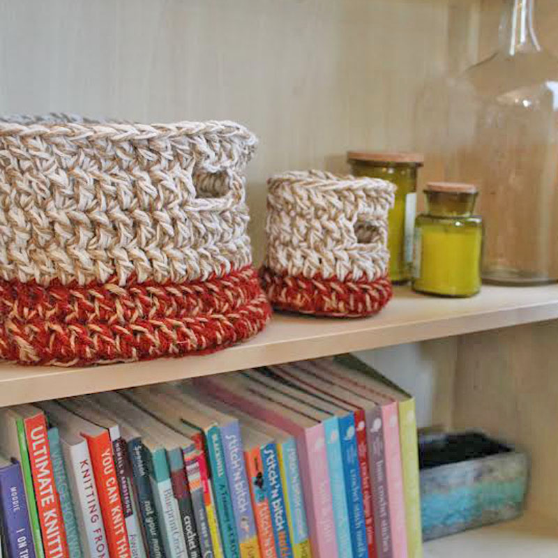 Crochet Baskets to Help Decorate Your Bookshelf