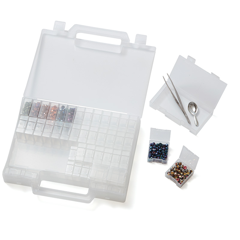 Cool Stuff, Products we Love, June/July 2017 Beadwork magazine. 52 removable compartments in 3 sizes carrying case from Artbeads.