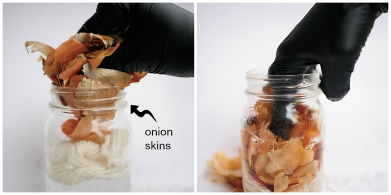 Step 3 involves adding onion skins to the jar!