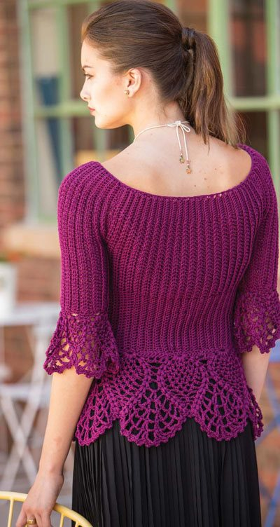 Colorful Crochet Lace: Ribbed Crochet Pullover