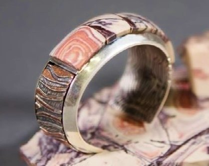 gemstone cabochon inlay cuff bracelet by Jeff Fulkerson