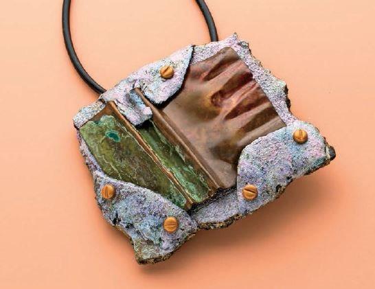 Raku Radiance faux raku polymer clay & metal pendant by Cynthia Blanton
