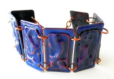 Eva Sherman enameled fold-formed cuff at Bead Fest