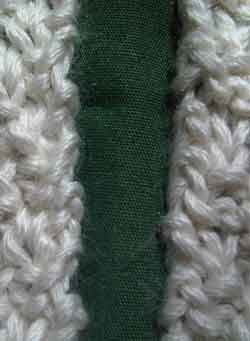 Garter stitch selvage edge, an example of using the mattress stitch in knitted seams.