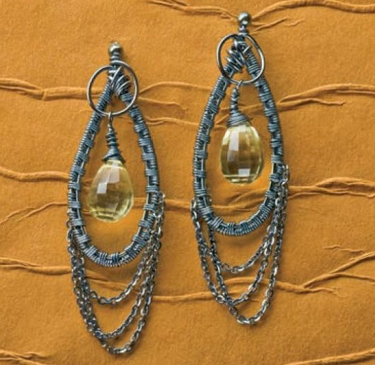 wire weaving earrings with gemstone briolettes by Deborah Gray-Wurz