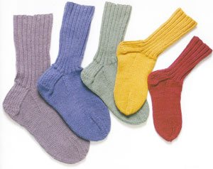 A rainbow of socks from Getting Started Knitting Socks by Ann Budd