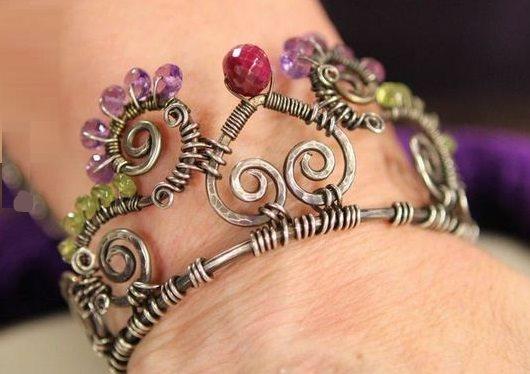 Janice Berkebile's wire and gemstone crown cuff bracelet