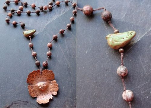 Sharon Chomanczuk bead and copper flower necklace