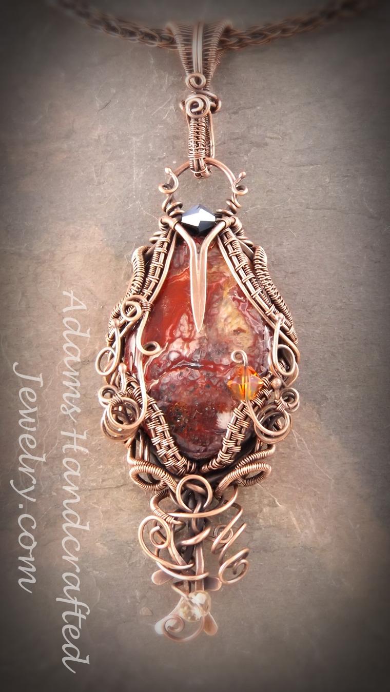 Red Crazy Lace Gemstone Wire Wrapped Pendant W Swarovski