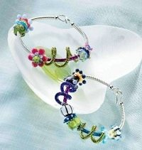 lampwork glass bead and wire bracelets