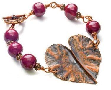 Abbi Berta's fold formed Battered Heart bracelet