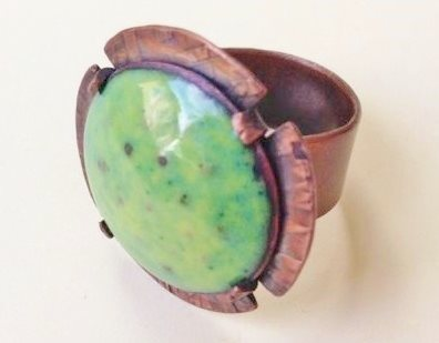 enameled copper ring by Denise Peck