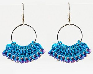 chain maille Beaded Fan earrings tutorial