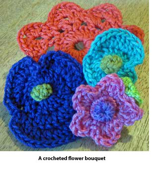 Crocheted flower bouquet