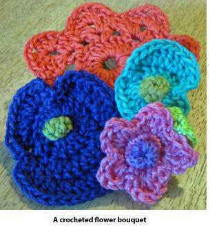 Crocheted flower bouquet