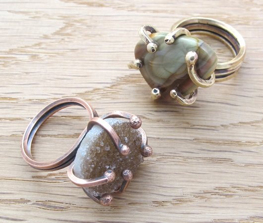 ball-end big prong wire rings for stones by Kate Richbourg