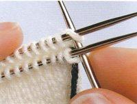 Kitchener stitch step 2