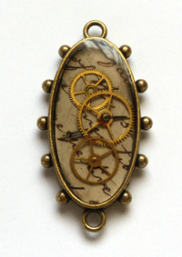 Mixed Media Jewelry: Old Pocket Watch Face Pendant