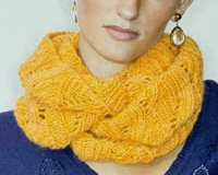 Maryse cowl infinity scarf knitting pattern.