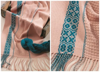 8 shaft weaving opens up tons of design possibilities, including turned overshot drafts like in this handwoven scarf.