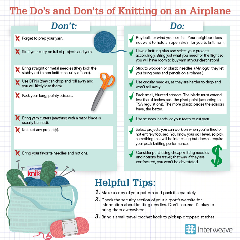 knitting on an airplane
