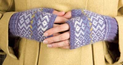Fresco Fair Isle Mitts, an example of knitting Fair Isle and weaving in the ends.