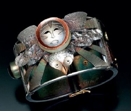 Owl Mask Spirit Helper patinated cuff bracelet by Joan Tenenbaum