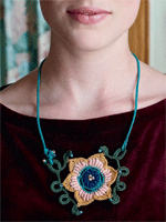 This crochet necklace uses bullion stitches to create 3-D texture.