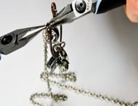 how to make an epoxy clay and resin silver and copper charm necklace