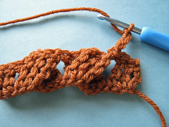 Edgeless Crochet Cables: Setting up the second row (RS).