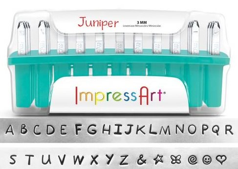 Impress Art's Juniper font metal stamp set