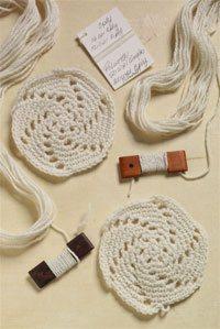 Crocheted swatches, handspun yarn