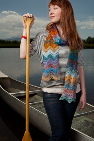 This colorowrk crochet scarf is easy and a great accessory.