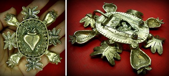 """Corazon Renacer (""""reborn heart"""") metal clay pin/pendant by Lorena Angulo front and back"""