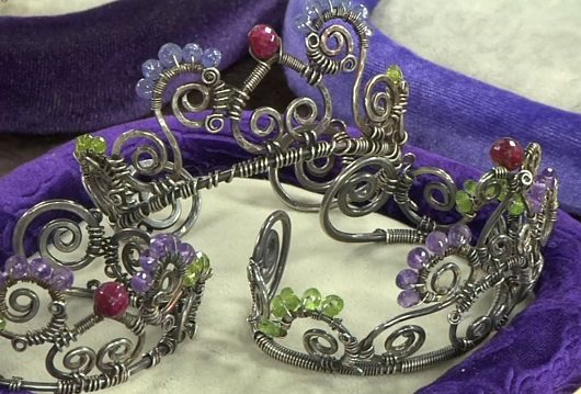 Janice Berkebile's wire and gemstone crown cuffs and tiaras