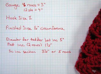 Graphed out crochet hat directions.