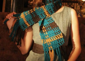 The fun Shades of Plaid scarf is a crochet scarf pattern that can be found in our free eBook.