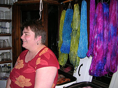 Kristine and some of her hand-dyed yarns